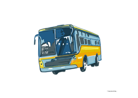 Urban bus digital hand drawn illustration
