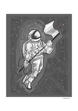 Austronaut ink vector illustration