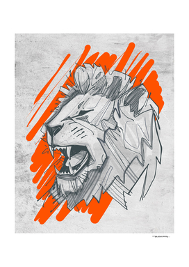 Lion face ink digital illustration