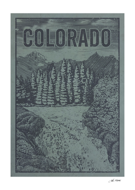 Colorado Waterfall Travel Poster