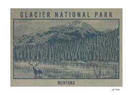 Glacier National Park Moose Lake Travel Poster