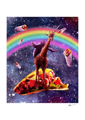 Space Sloth Riding Giraffe Unicorn - Taco & Burrito
