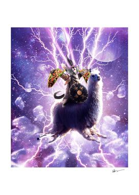 Lazer Warrior Space Cat Riding Llama With Taco