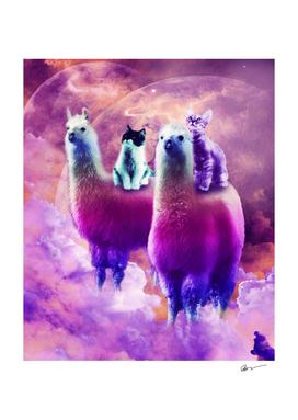 Kitty Cat Riding On Rainbow Llama In Space