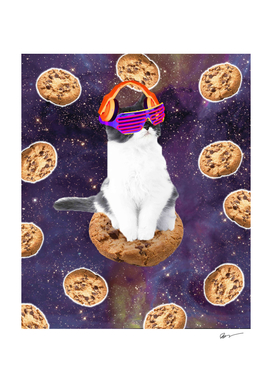 Rave Kitty Cat On Choc Cookie In Space
