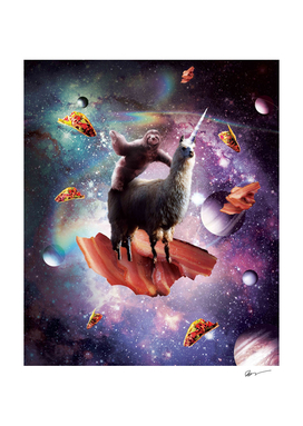 Space Sloth Riding Llama Unicorn - Bacon & Taco