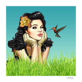Retro Pinup Girl Smooching & Hummingbird