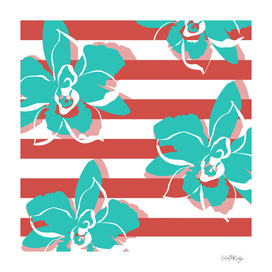 Flowers & Stripes Peach Turquoise
