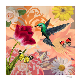 Hummingbird & Flower Garden Botanical Collage