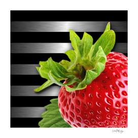 Strawberry Black & Silver Metallic Stripes