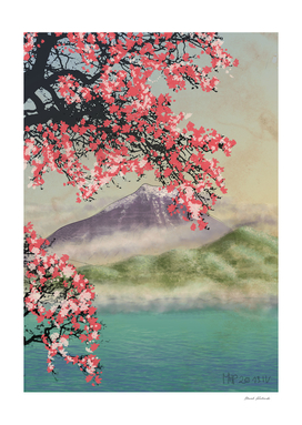 Cherry Blossom at Mountain over Lake
