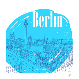 The city of Berlin. Blue color.Graphic arts.