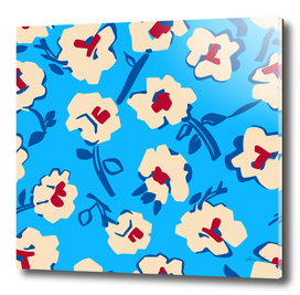 abstract flowers on blue background