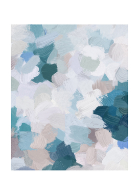 Teal Blue and Blush Pink Abstract Modern Art Painting