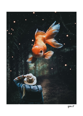 Chinese Goldfish in Forest by GEN Z