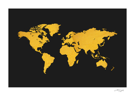 Golden World Map - Black Background