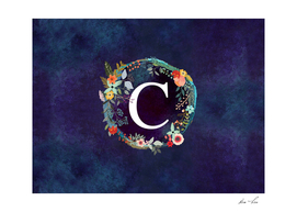 Personalized Initial Letter C  Floral Wreath Artwork