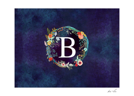 Personalized Initial Letter B  Floral Wreath Artwork