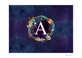 Personalized  Initial Letter A Floral Wreath Artwork