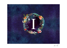 Personalized Initial Letter I Floral Wreath Artwork