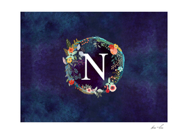 Personalized Initial Letter N Floral Wreath Artwork