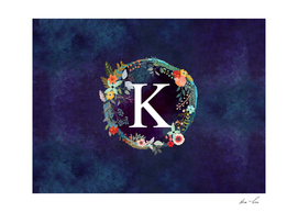 Personalized Initial Letter K Floral Wreath Artwork