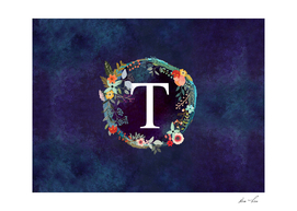 Personalized Initial Letter T Floral Wreath Artwork