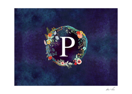 Personalized Initial Letter P Floral Wreath Artwork