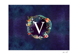 Personalized Initial Letter V Floral Wreath Artwork