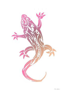 Pink Gecko Tribal Tattoo