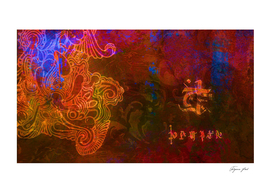 Abstract wallpaper in neon colors with fantasy symbols.