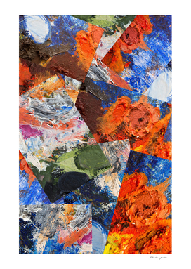 Abstract collage of fragments of the artist's palette
