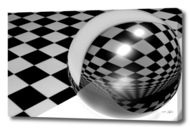 Abstract - Glass reflective sphere on checkered room