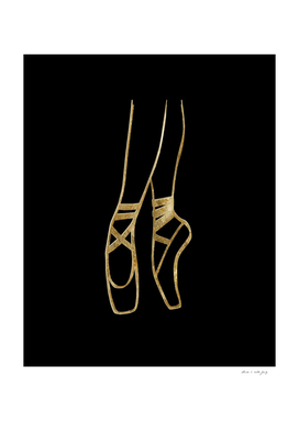 Ballet Dancer Gold on Black #1 #minimal #drawing #decor #art