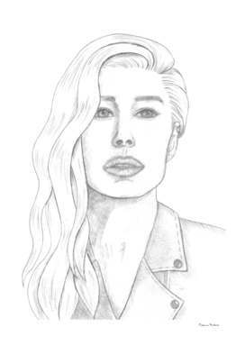 Fashionable beautiful girl drawn with black pencil