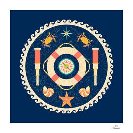 Nautical circle poster