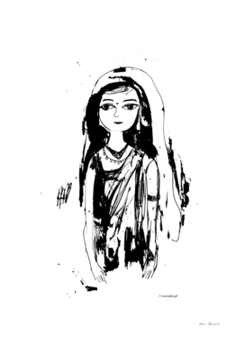Indian girl black-white drawing