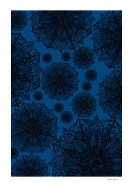 Black and Blue Mandala Pattern