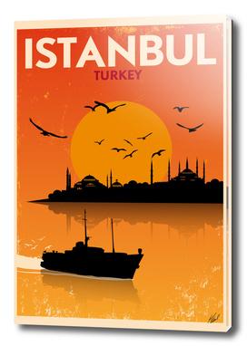 Retro Istanbul Skyline Poster