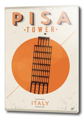 Vintage Pisa Tower Poster Design
