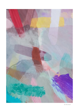 splash brush painting abstract in pink purple green yellow