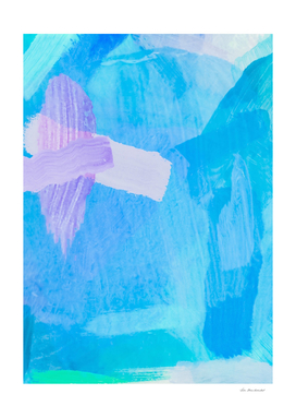 splash brush painting abstract in blue and pink