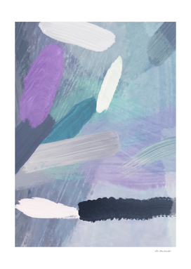splash brush painting abstract in purple green