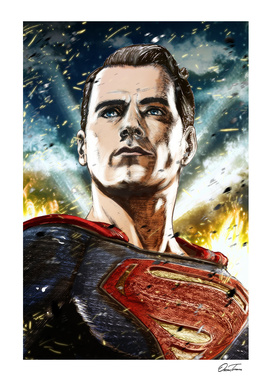 Superman - Ink & Digital Portrait