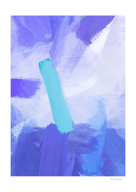 splash brush painting abstract in blue and green