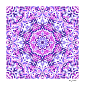 Purple Pink and White Mandala