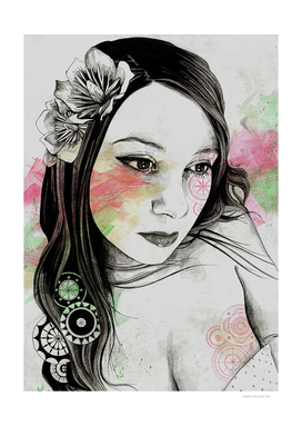 Treasure (young cute girl, magnolia & mandalas)