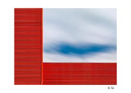Corner red, sky.
