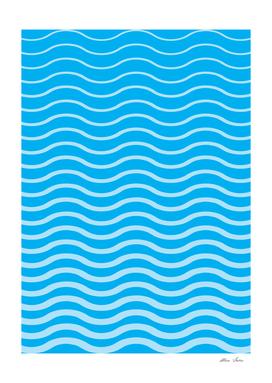 Waves, blue, geometric waves pattern, summer poster