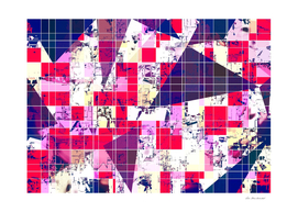 geometric square and triangle pattern in red and blue